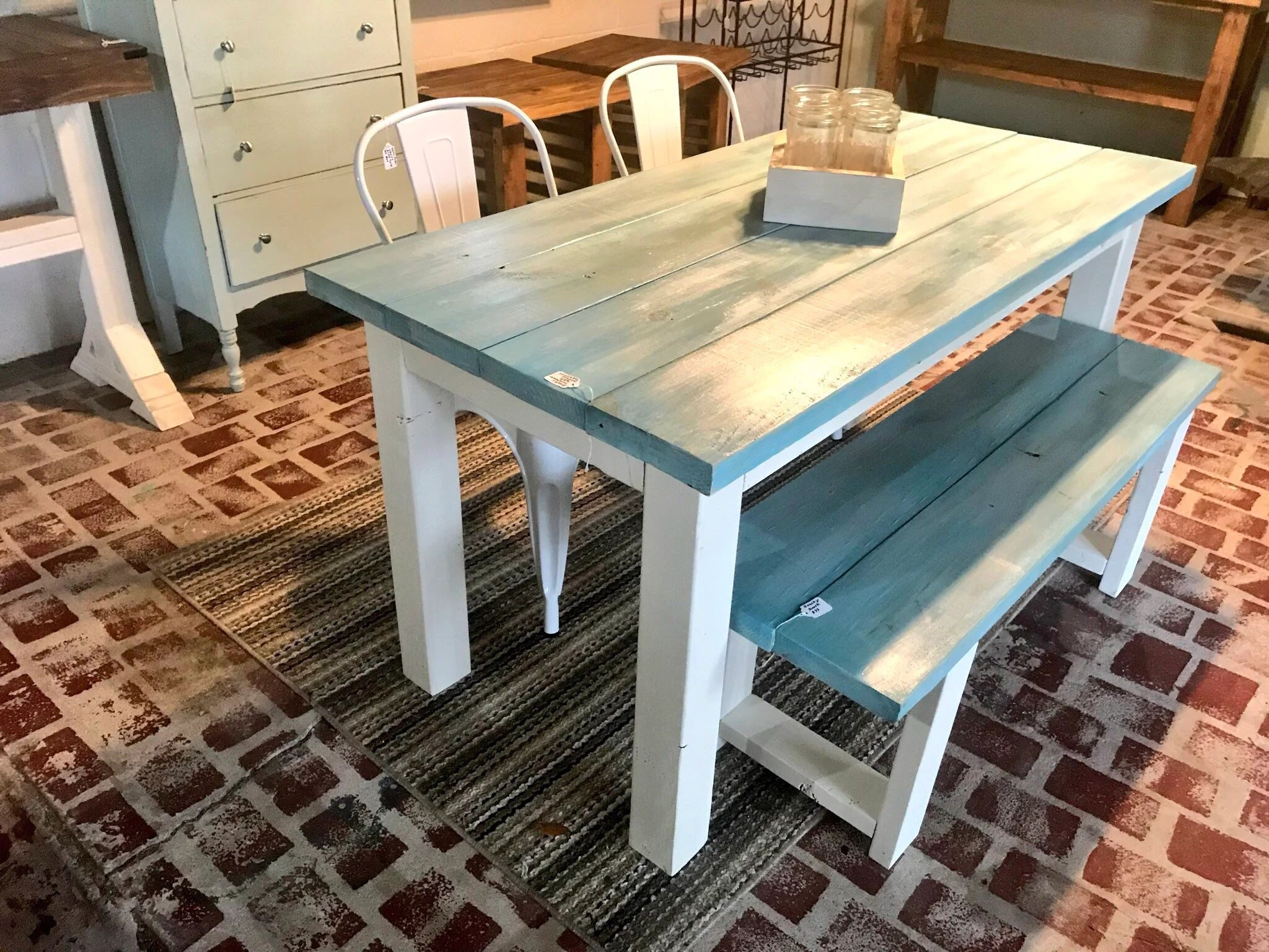 farmhouse table and chairs with bench posture chair ikea etsy vintage aqua small set metal gray white wash base 5ft dining