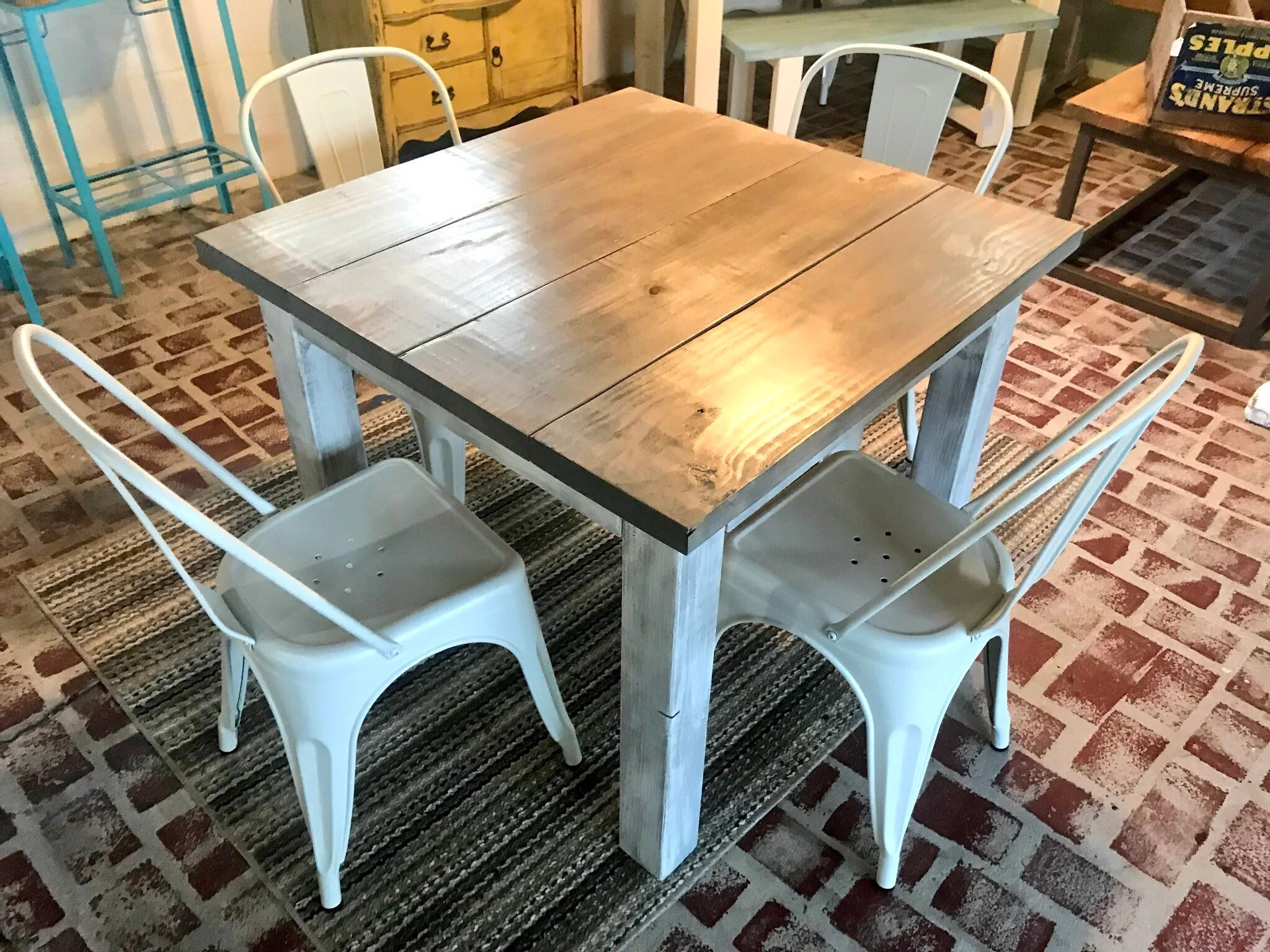 rustic farm table and chairs black accent square farmhouse etsy dining set with white metal small gray top distressed base