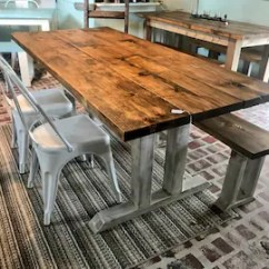 Metal Farmhouse Chairs Under Chair Storage Table And Etsy Rustic With Long Bench Provincial Brown Top Distressed White Base Dining Set 6ft
