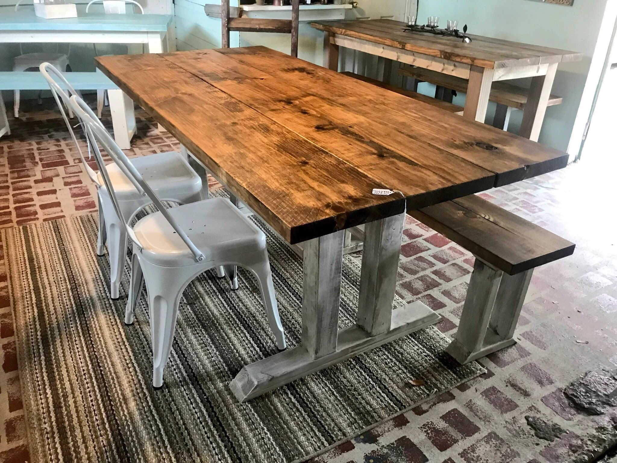 farmhouse table and chairs with bench office chair uae etsy rustic long metal provincial brown top distressed white base dining set 6ft