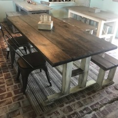 Farmhouse Table And Chairs With Bench Ikea Desk Chair Etsy Rustic 7ft Pedestal Long Metal Esspresso Top Creamy White Distressed Base Dining Set