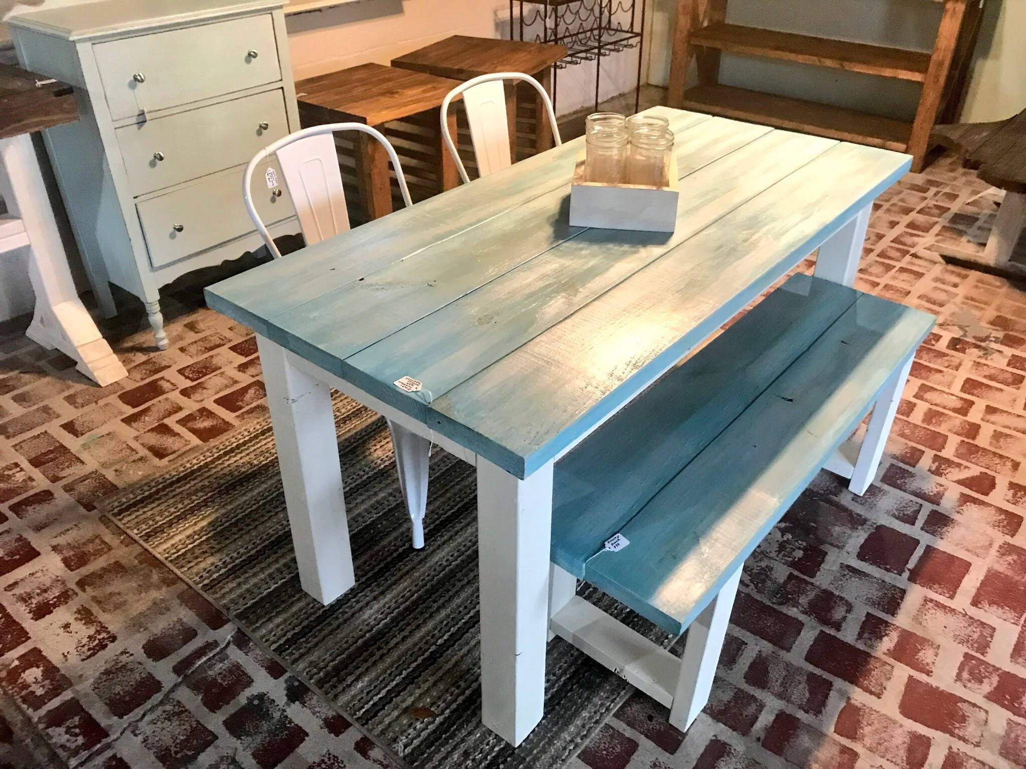 Vintage Aqua Small Farmhouse Table Set With Bench And Metal Chairs Gray And White Wash With White Base 5ft Farmhouse Table Dining Set