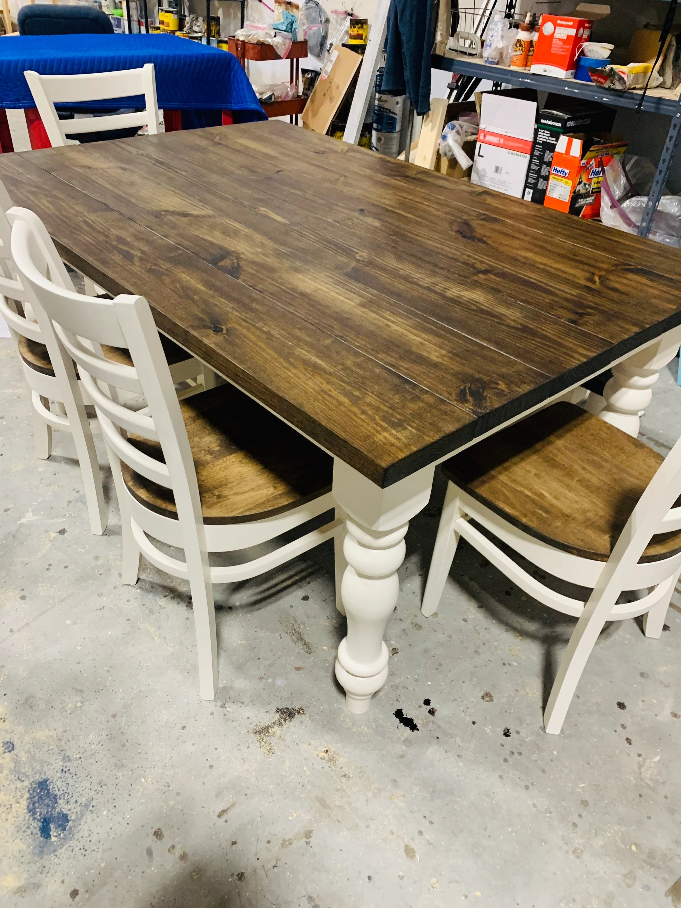 rustic farmhouse table set with turned
