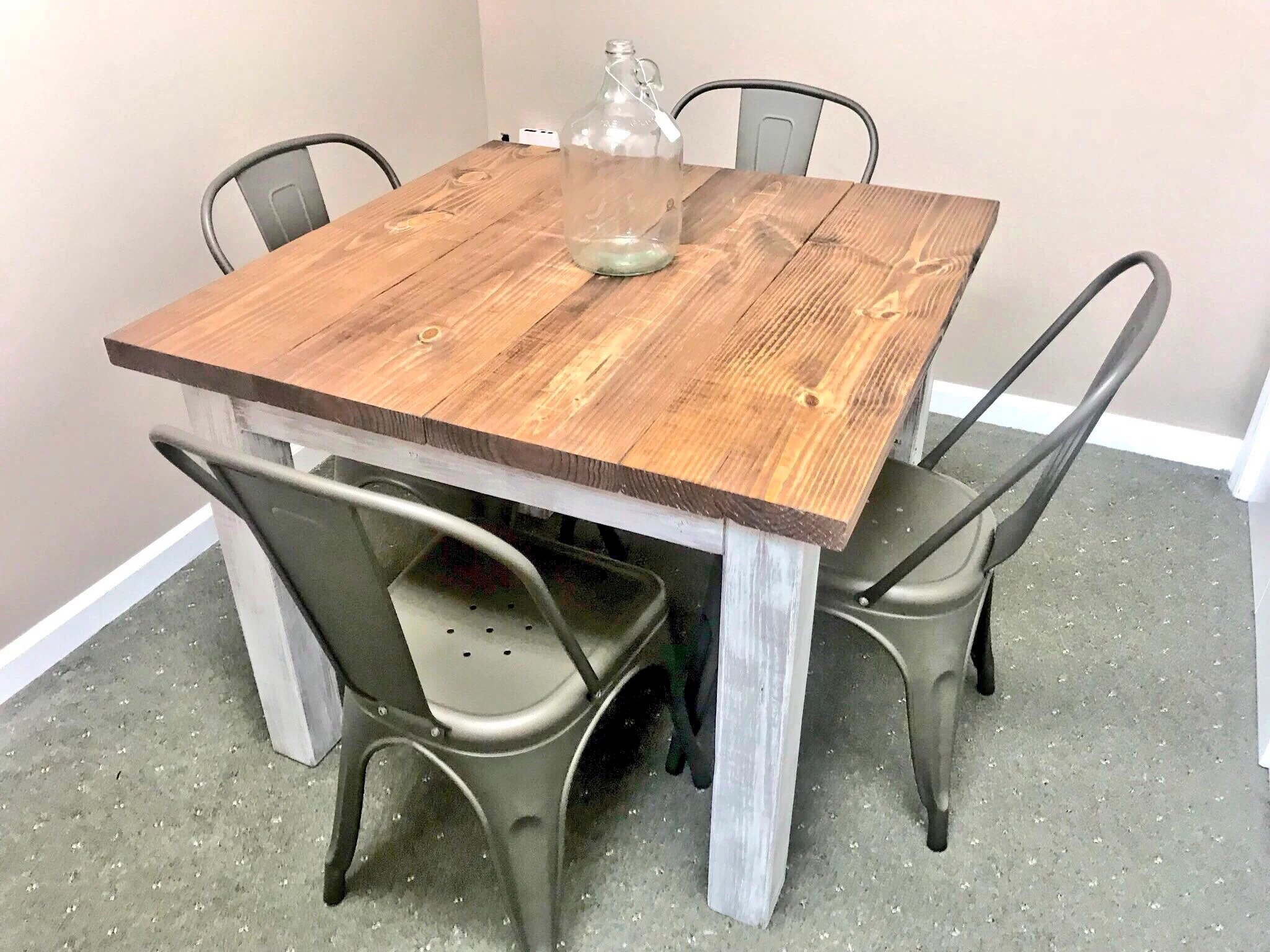 Square Farmhouse Table Rustic Small Farmhouse Table Dining Set With Copper Metal Chairs Provincial Top Distressed White Base