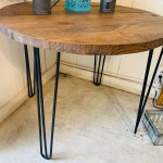 Small Farmhouse Nook Dining Table Industrial Style Provincial Brown Top And Black Hairpin Legs Round Dining Table Kitchen Table Wooden