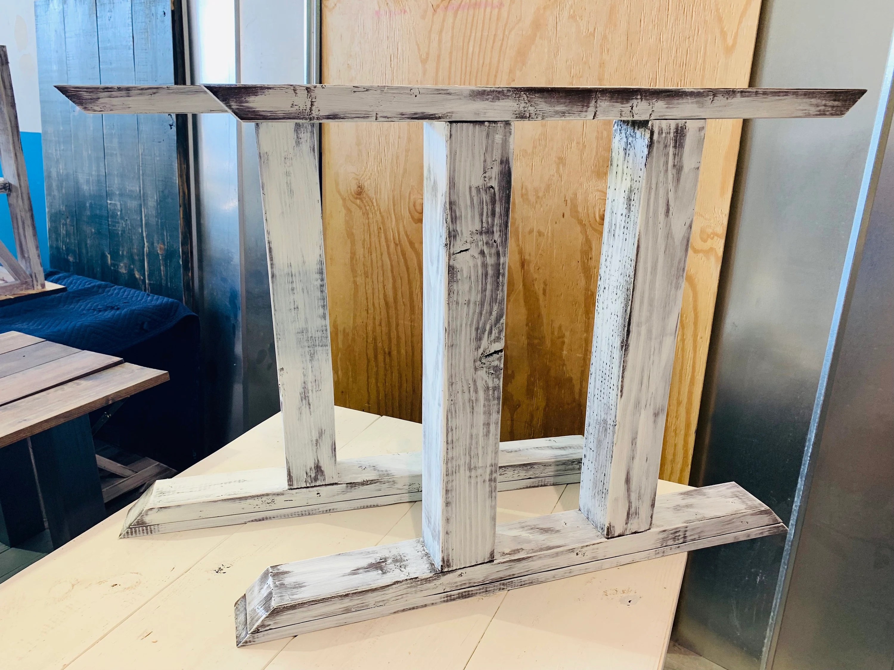 Diy Farmhouse Table Leg Set Antique Distressed White Trestle Style Legs Pedestal Table Legs Wooden Table Legs Dining Set