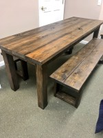 Rustic 7ft Farmhouse Table with Benches, Brown Dining Set ...