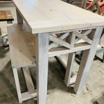 Counter Height Rustic Farmhouse Table With Benches High Top Table With Tall Seating White Wash With Gray Tones Dining Set Or Kitchen Table