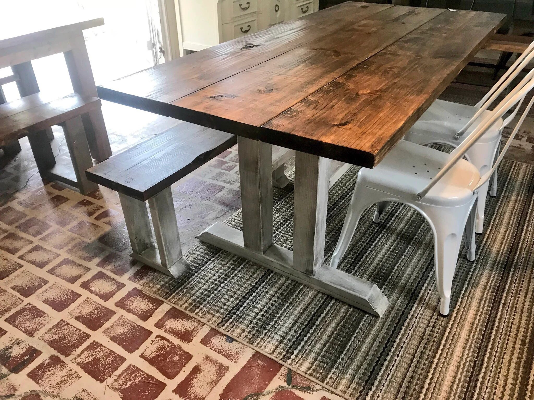 Rustic Farmhouse Table With Long Bench And Metal Chairs Provincial Brown Top Distressed White Base Dining Set 6ft Table