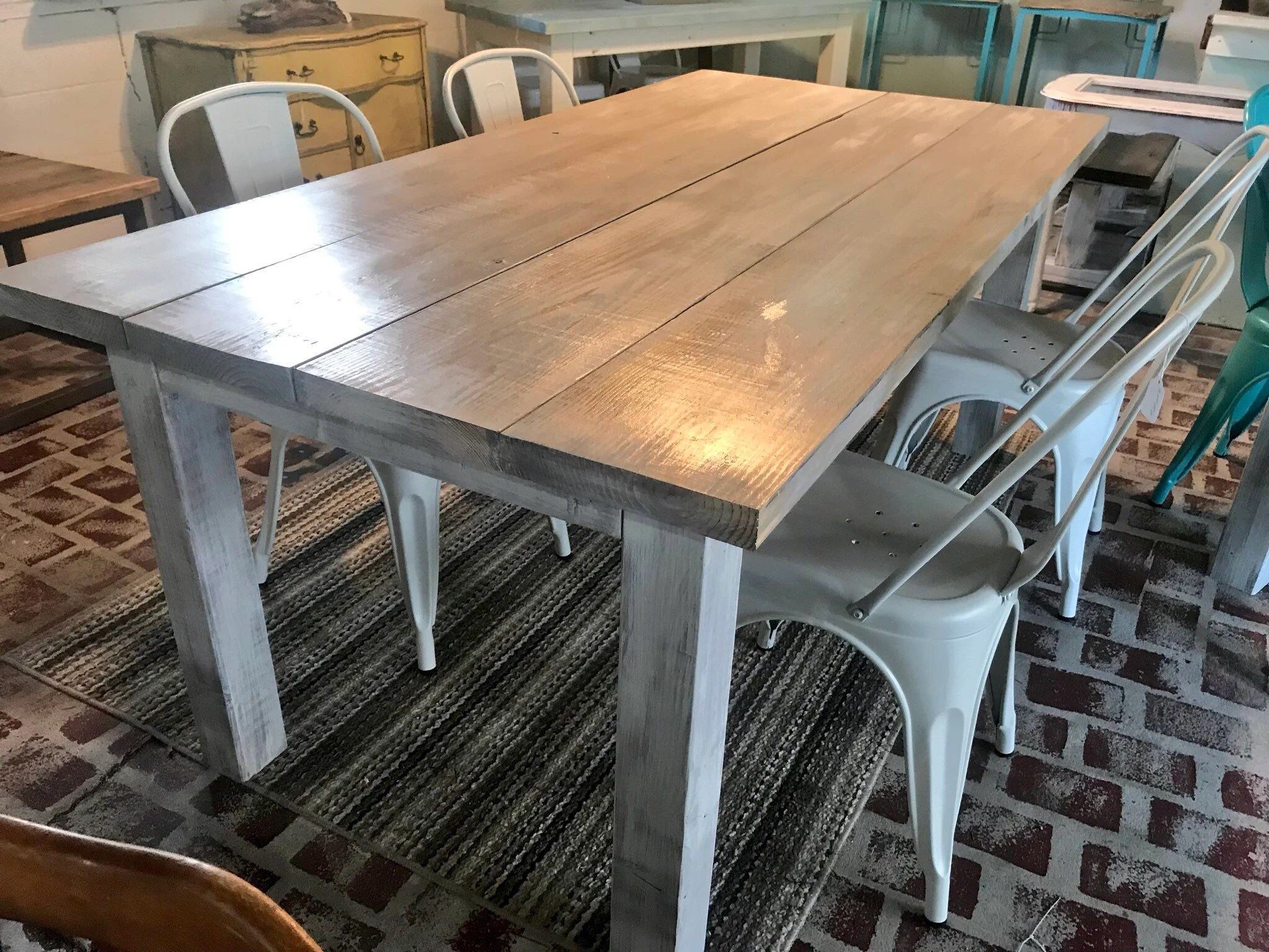 White Wash Farmhouse Table With Metal Chairs Rustic Wooden Gray White Wash Top And Creamy White Distressed Base Dining Or Kitcen Table
