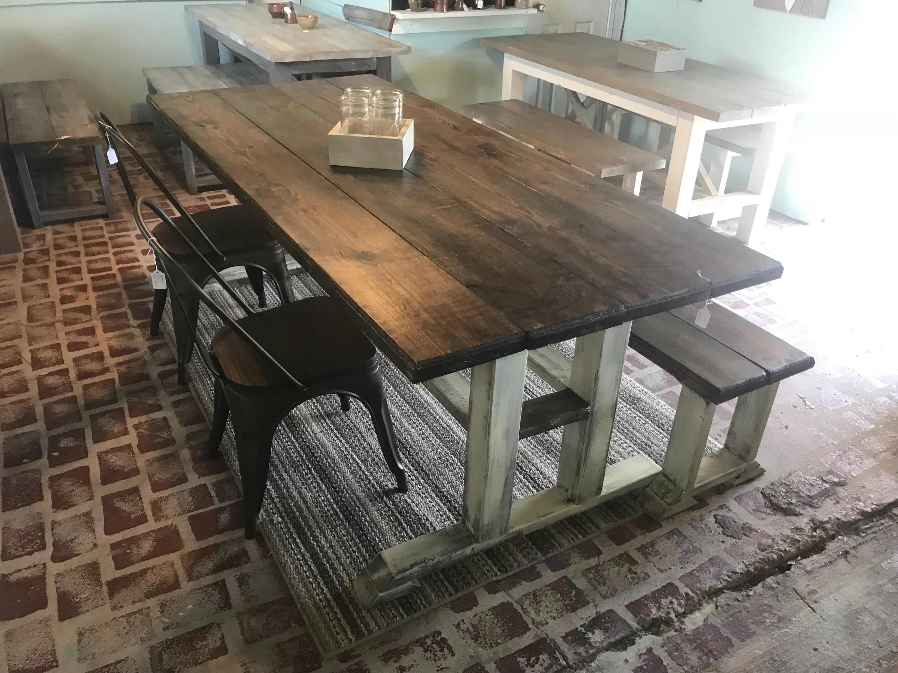Rustic 7ft Pedestal Farmhouse Table With Long Bench And Metal Chairs Esspresso Top With Creamy White Distressed Base Dining Set Long Table