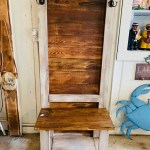 Rustic Farmhouse Hall Tree With Hooks Built With Reclaimed Wood Distressed White With Light Walnut Stain Entryway Bench With Storage