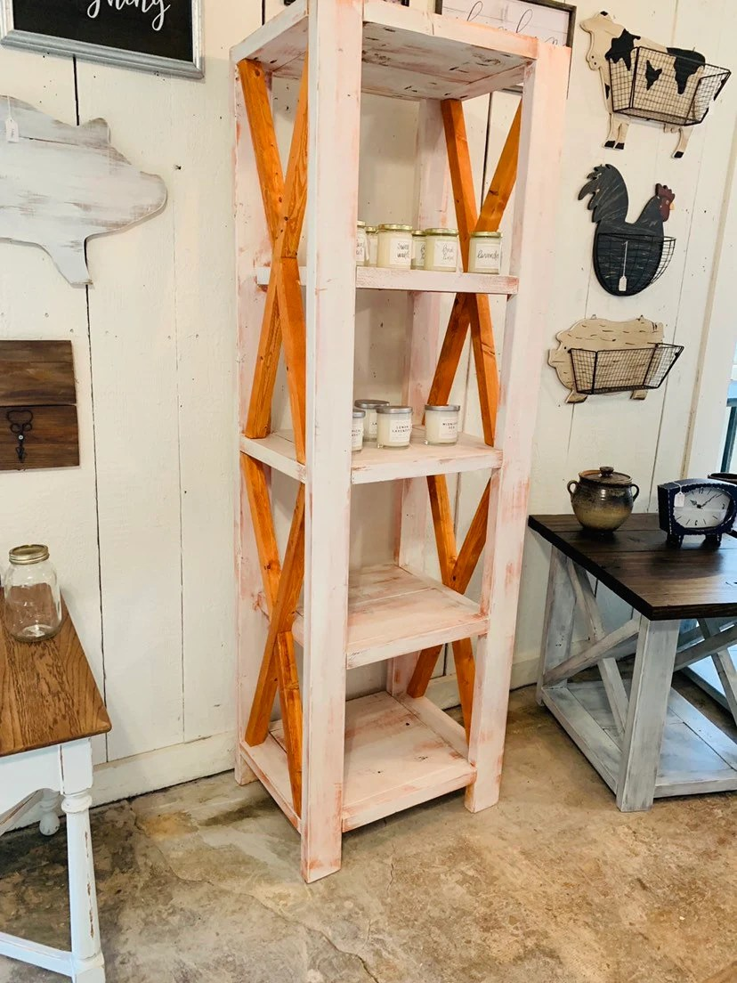 Rustic Farmhouse Style Bookshelf With A Distressed Antique Finish And Gunstock Organge X Accents Wooden Shelving Bookcase