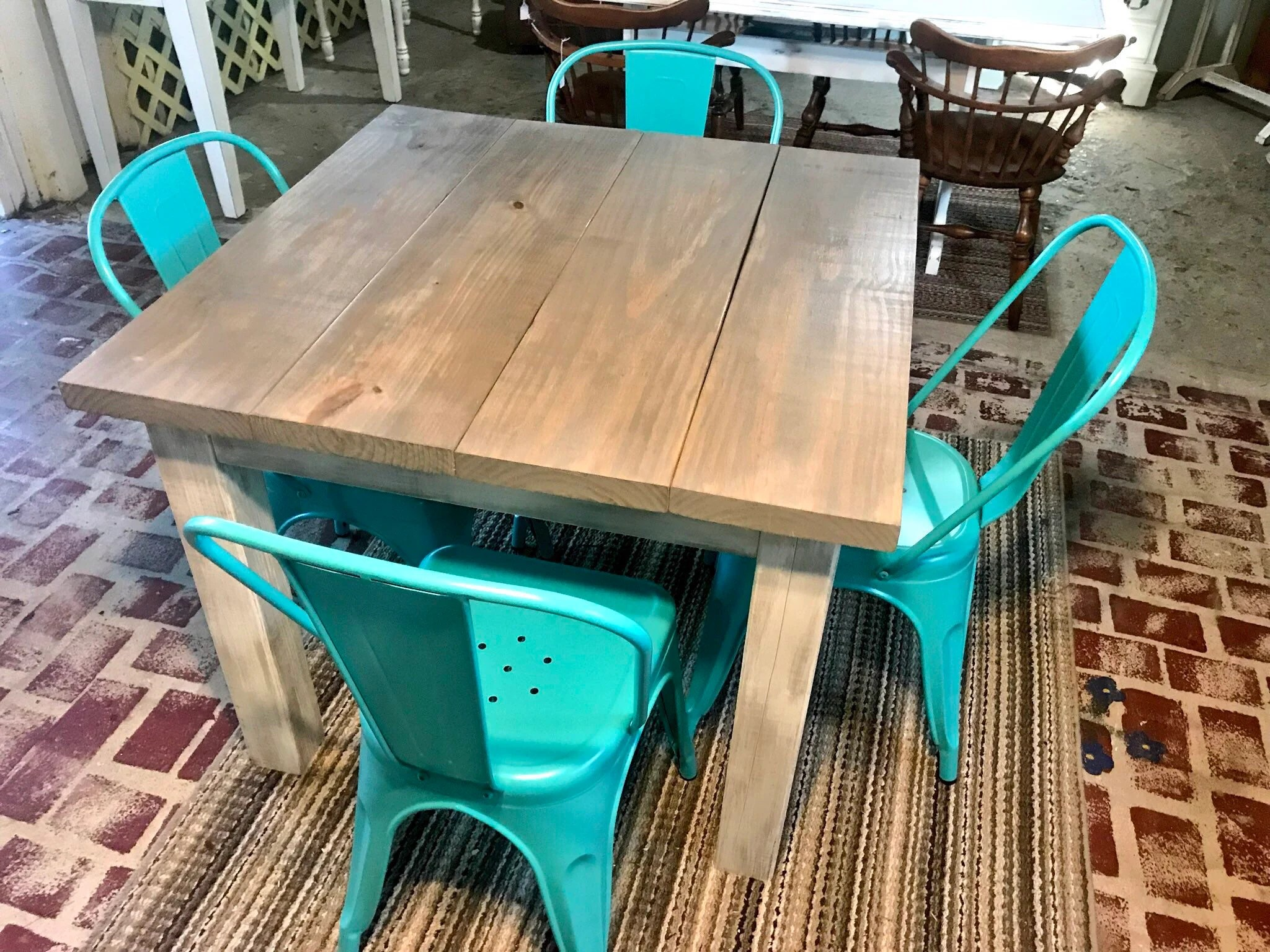 Square Farmhouse Table Rustic Farmhouse Table Dining Set With Aqua Metal Chairs Table With Small Benches Gray Top White Distressed Base