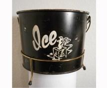 Vintage 1960s Metal Ice Bucket Hotel Motel Penguin
