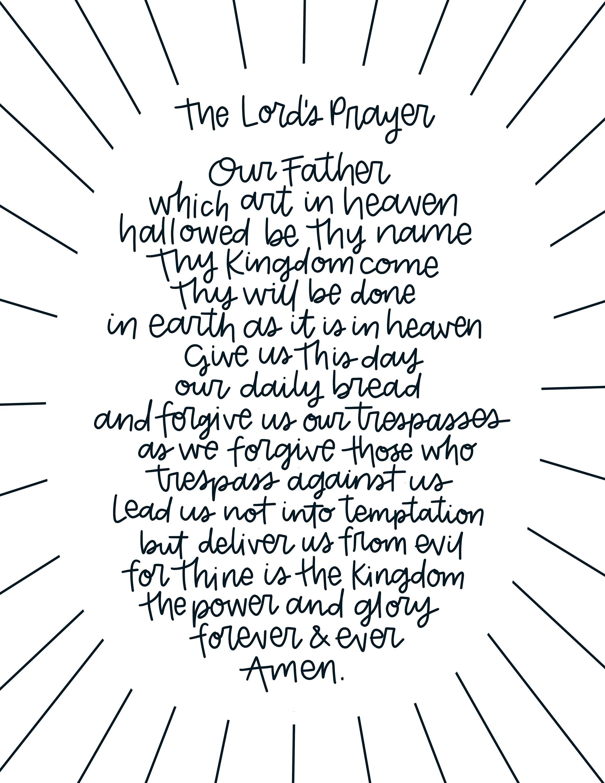Modern Lord S Prayer Printable Download Art Print