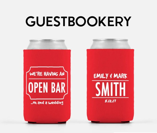 Open Bar Funny Wedding Favor Personalized Can Cooler Wedding Favor Can Cooler Wedding Can Cooler Bulk Christmas Gift