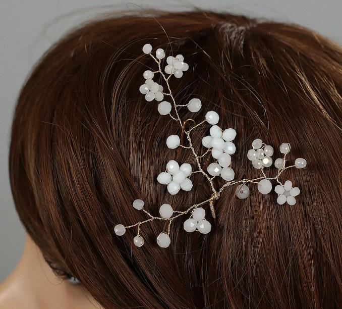 wedding hair pins, bridal hair pin, wedding hair pin, flower hair pins, bridal hair accessory, crystal glass pins