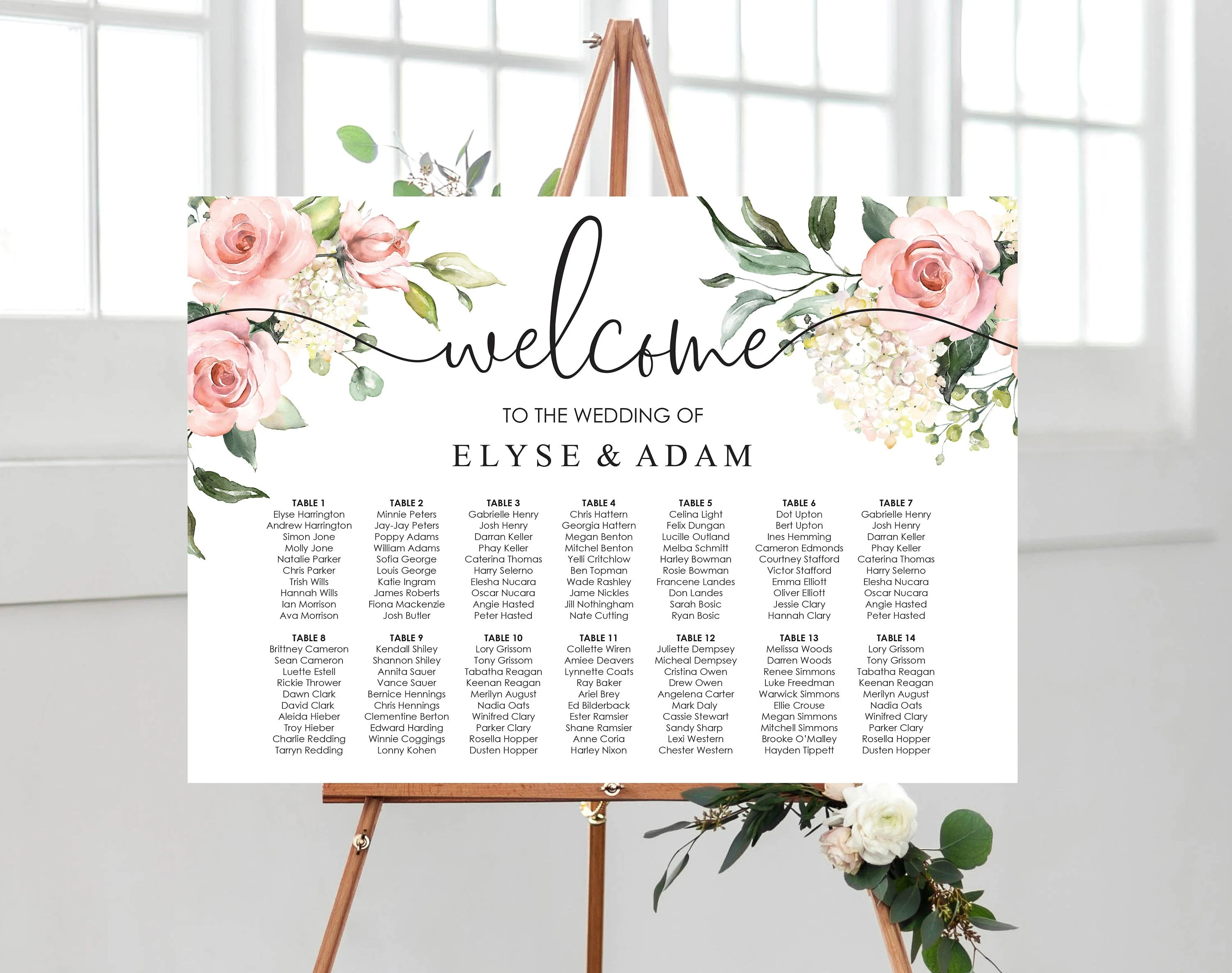 Printable blush floral wedding seating chart tables editable template diy stationery darcy also etsy rh