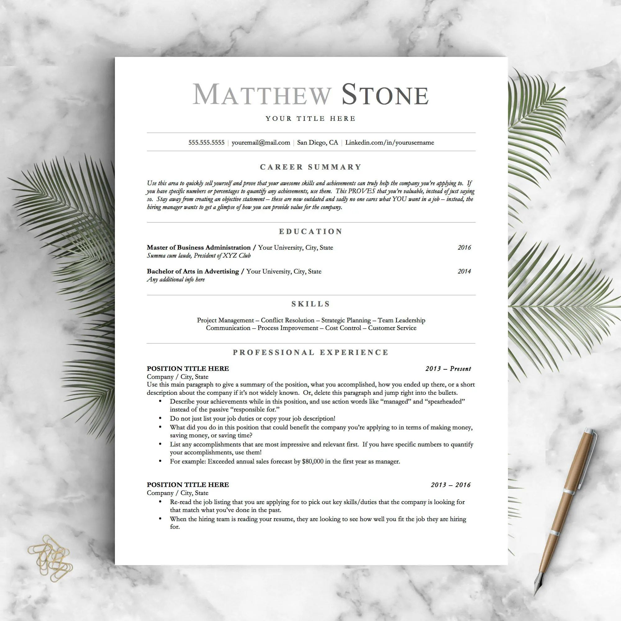 how to continue your header on a word resume template