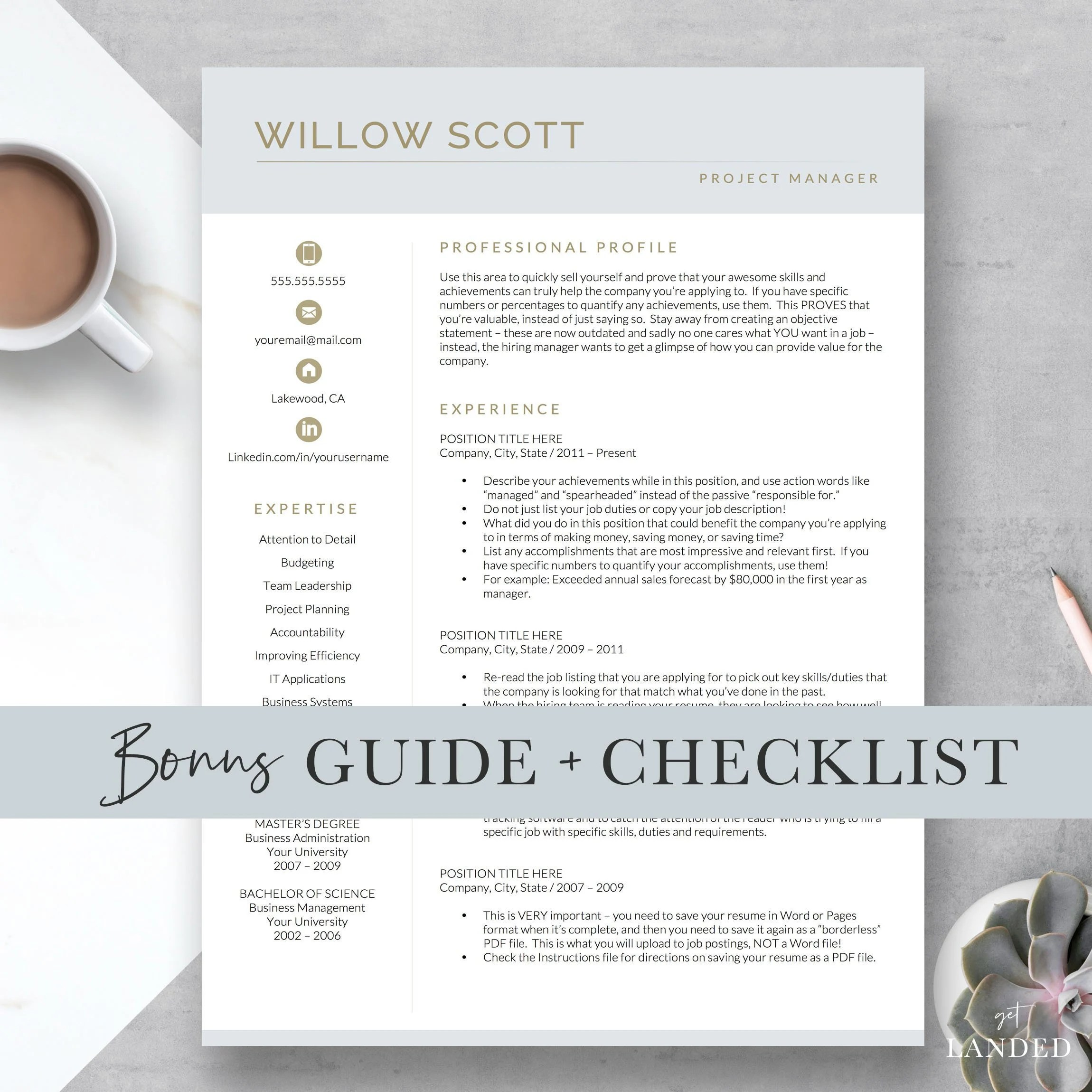 Easy Resume Template Resume Template For Word And Pages Modern Cv Template Resume Design Resume Template Instant Download Easy Resume Resume Icons