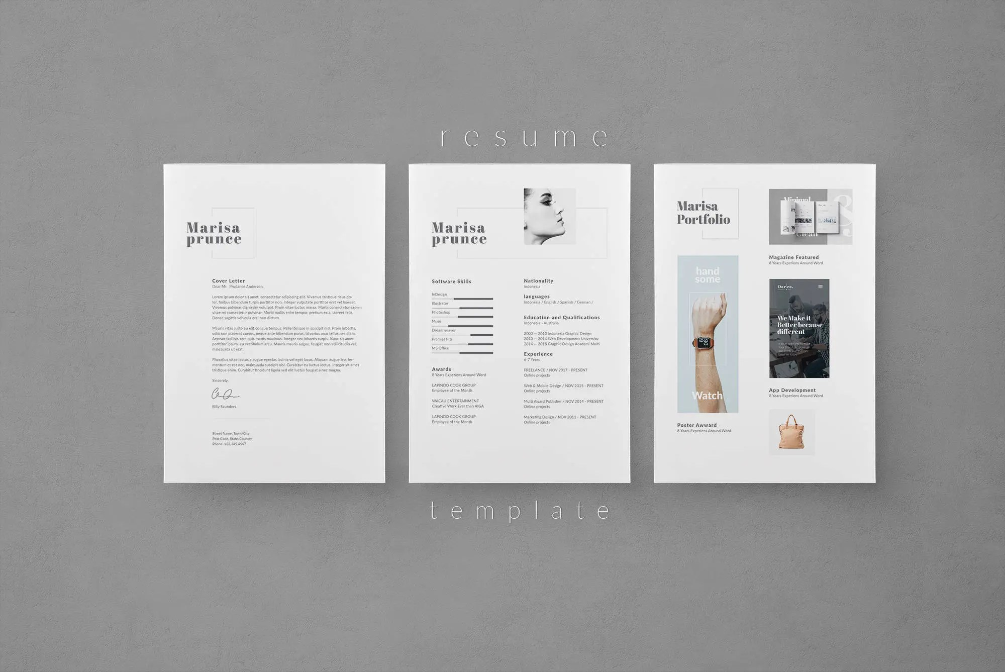 Online Graphic Designer Cover Letter Resume Template Cv Template Cover Letter Creative Resume Instant Download