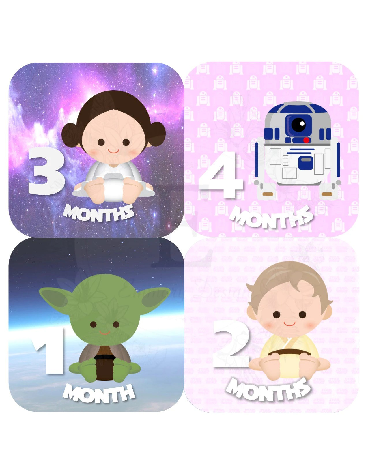 Star Wars Month Stickers Baby Girl Monthly Stickers Baby