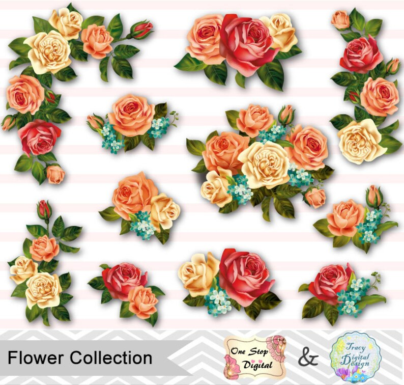 digital flower clip art