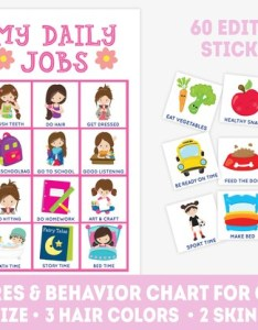Image also printable chore chart for girls editable stickers daily etsy rh