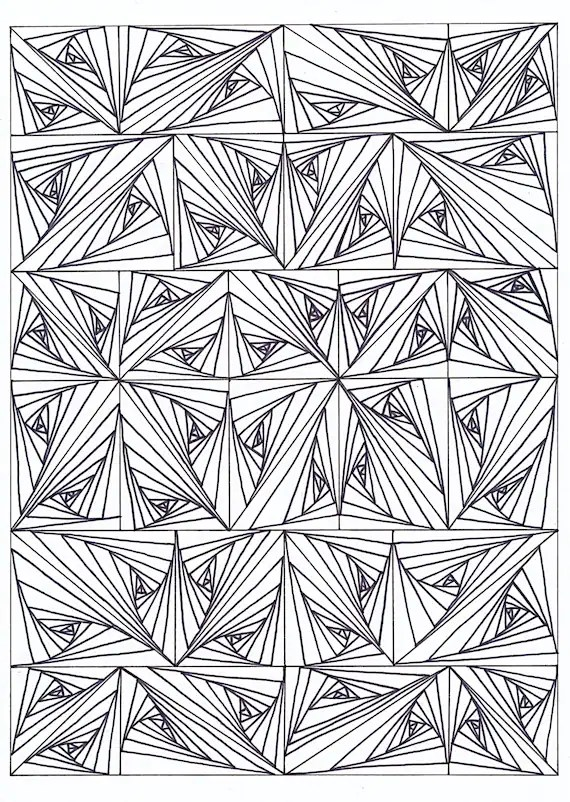 Psychedelic Coloring Page For Adults Etsy