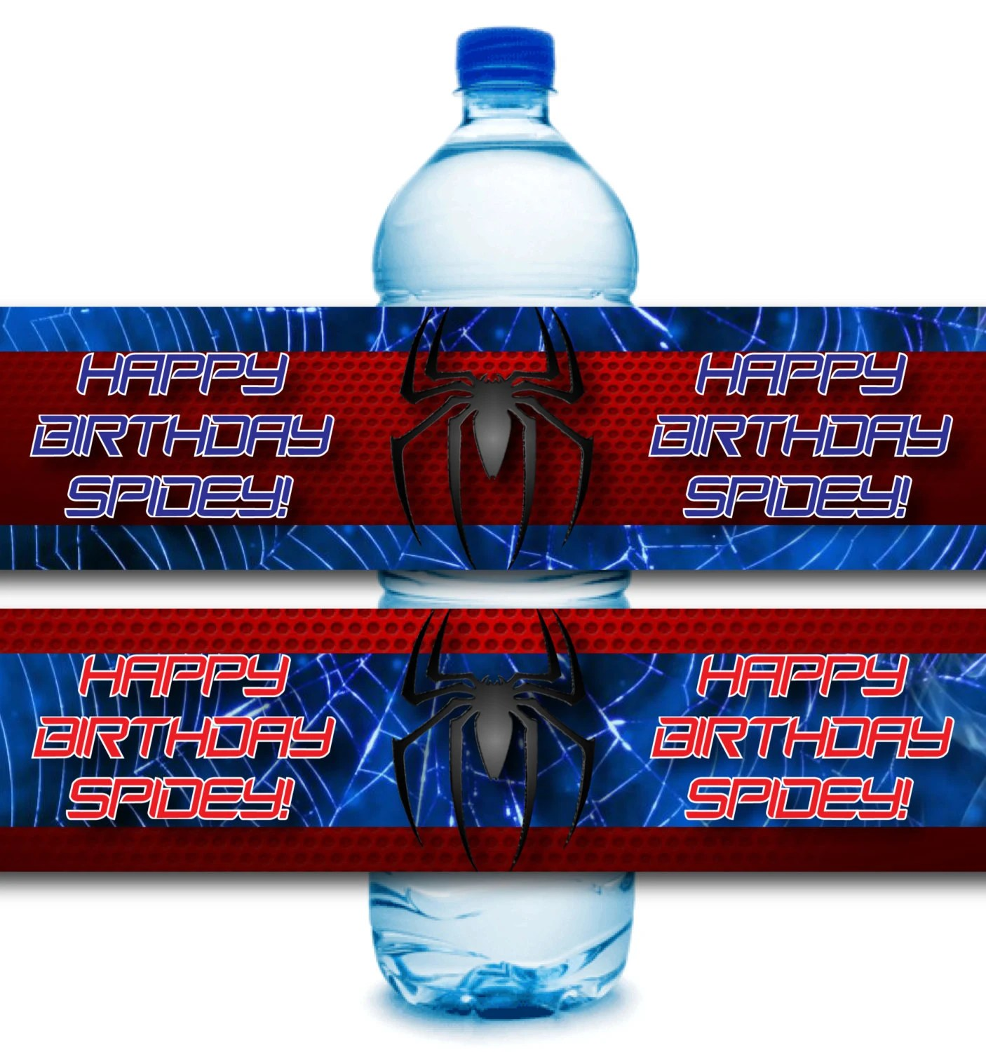 Instant Download Spiderman Party Water Bottle Label Printable
