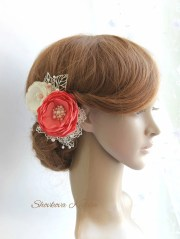 coral white flower hair piece red