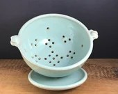 Pale blue berry bowl set with plate - large ceramic