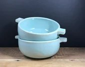 Soup Bowl with handles - robin's egg blue