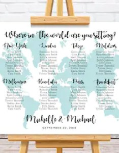 World map wedding seating chart travel theme plan personalize table assignment sign also etsy rh