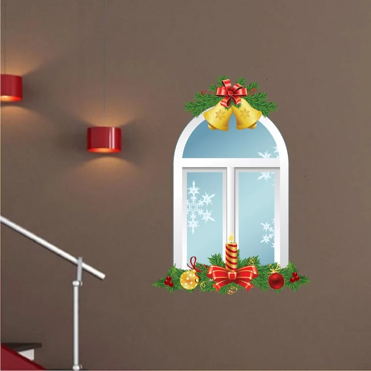 christmas window wall decal snowflake wall decal removable etsy
