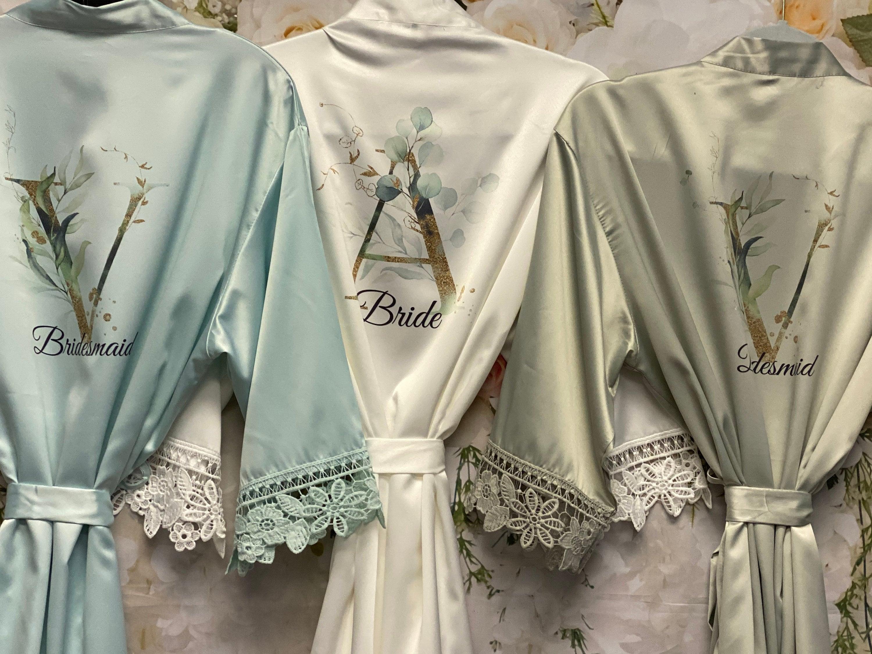 Bridesmaid Robes Bridal Robes Satin Dressing Gown image 1