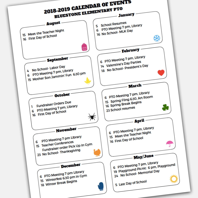 School Calendar of Events Handout and Flyer Template