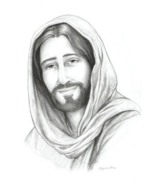 jesus drawing drawings pencil christ sketch face smiling sketches god religious painting christian children savior lds watercolor holding paintingvalley king