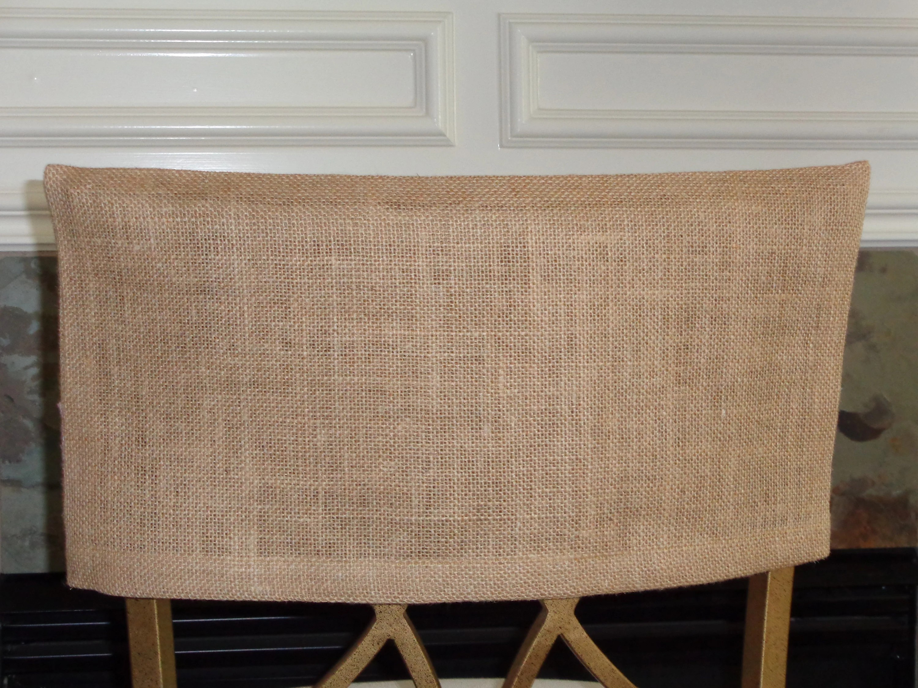 dorm chair covers etsy design car burlap cover cap half back slipcover bar stools rustic classroom chairs dining