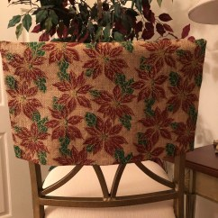 Crochet Christmas Chair Covers Hanging Patio Chairs Chairback Cover Burlap Half Holly Print Kitchen Etsy 50