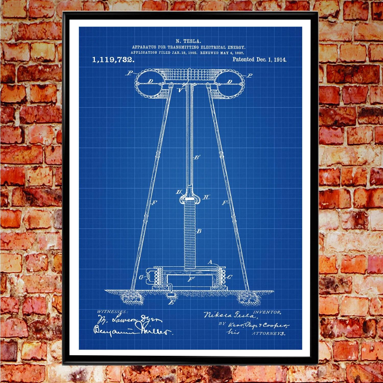 tesla patent poster science gift nikola