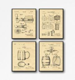 craft beer gift posters set of 4 beer patent posters beer lover gift home brew beer decor wb133a [ 2000 x 2000 Pixel ]