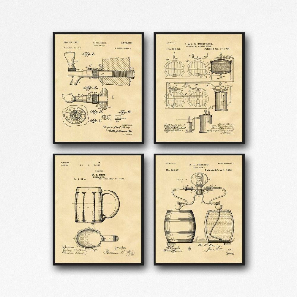 medium resolution of craft beer gift posters set of 4 beer patent posters beer lover gift home brew beer decor wb133a
