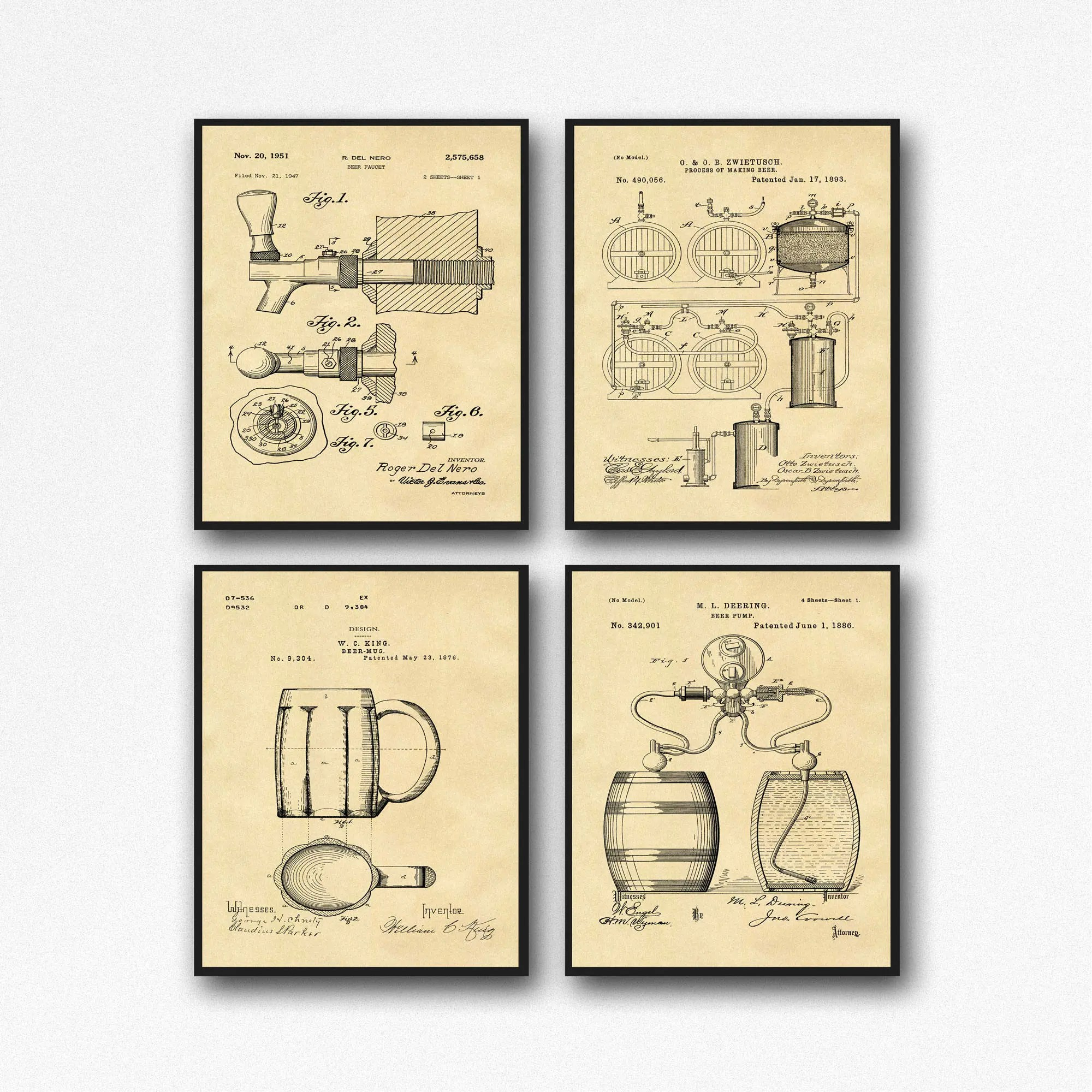 hight resolution of craft beer gift posters set of 4 beer patent posters beer lover gift home brew beer decor wb133a