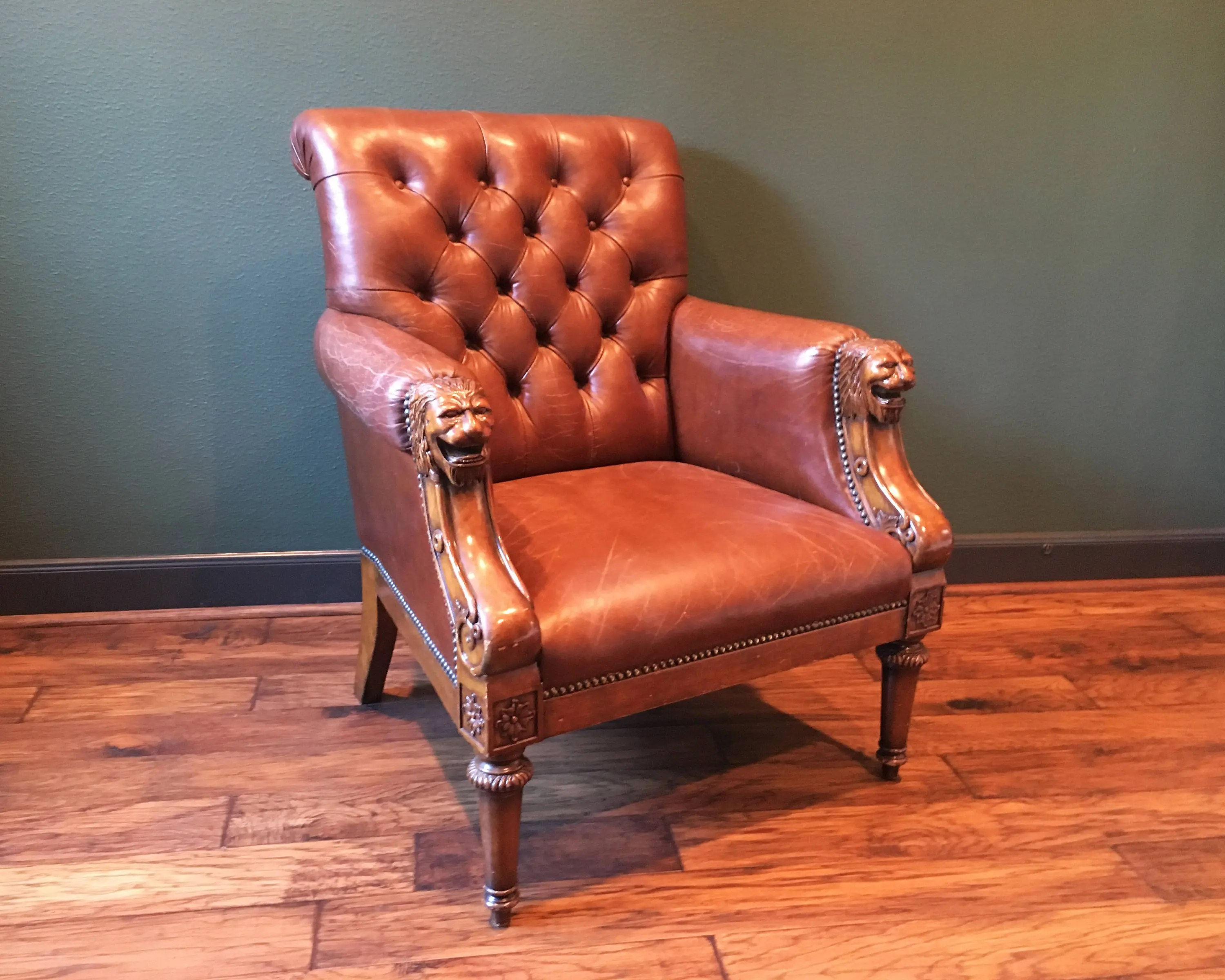 Wood Club Chair Antique Leather Chesterfield Chair With Lion Head Arms Maitland Smith Vintage Leather Chair Antique Club Chair Nailhead Accent Chair