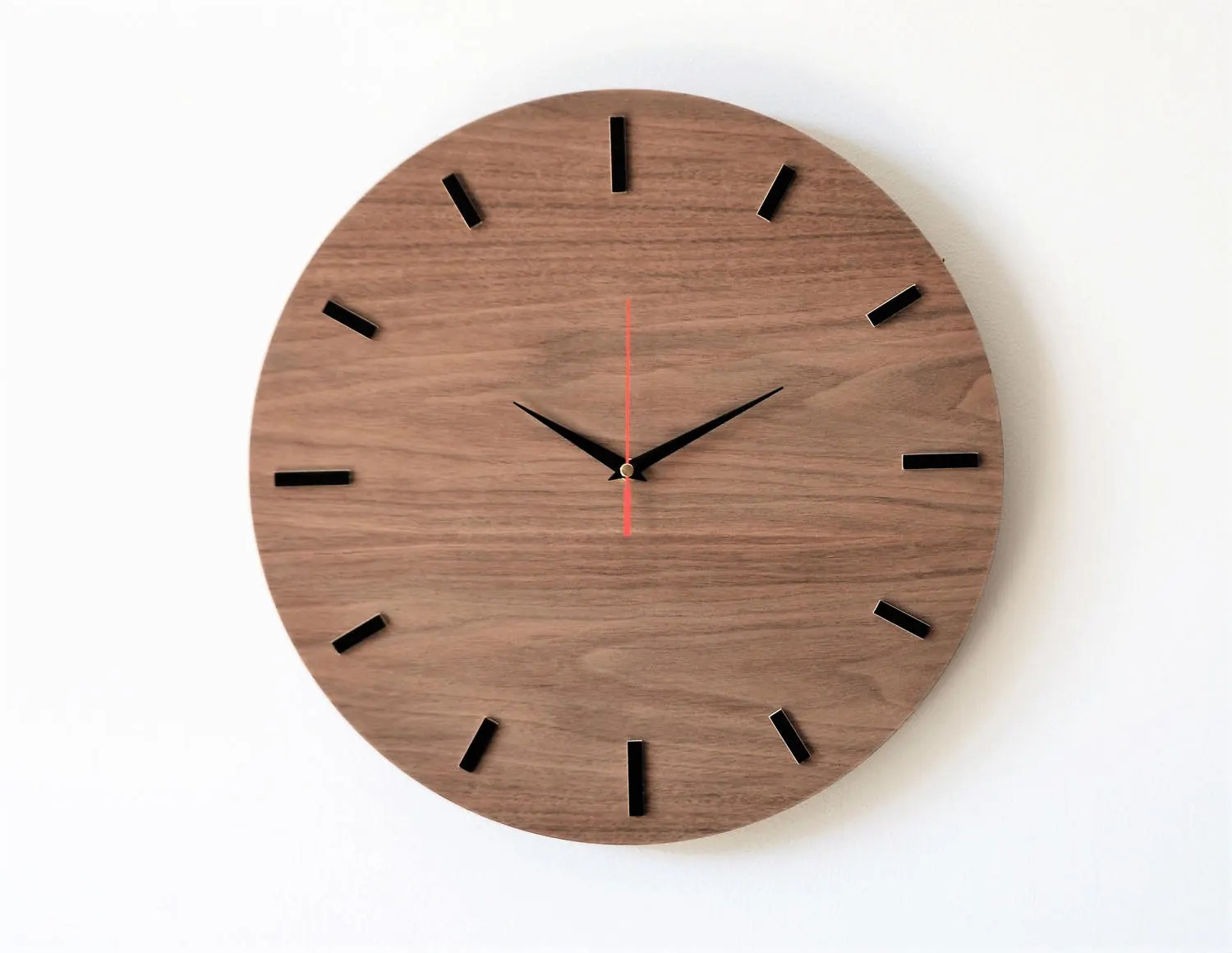 Wooden Clock 15.7 40 Cm WALNUT Wall Clock Modern
