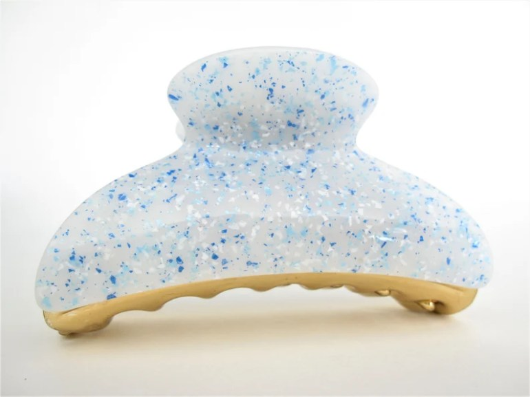 Light blue and white speckled hair claw clip image 0