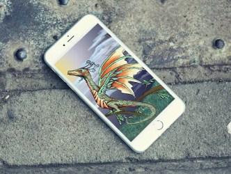 Green Dragon iPhone Lock Screen Wallpaper / Digital Fantasy Etsy