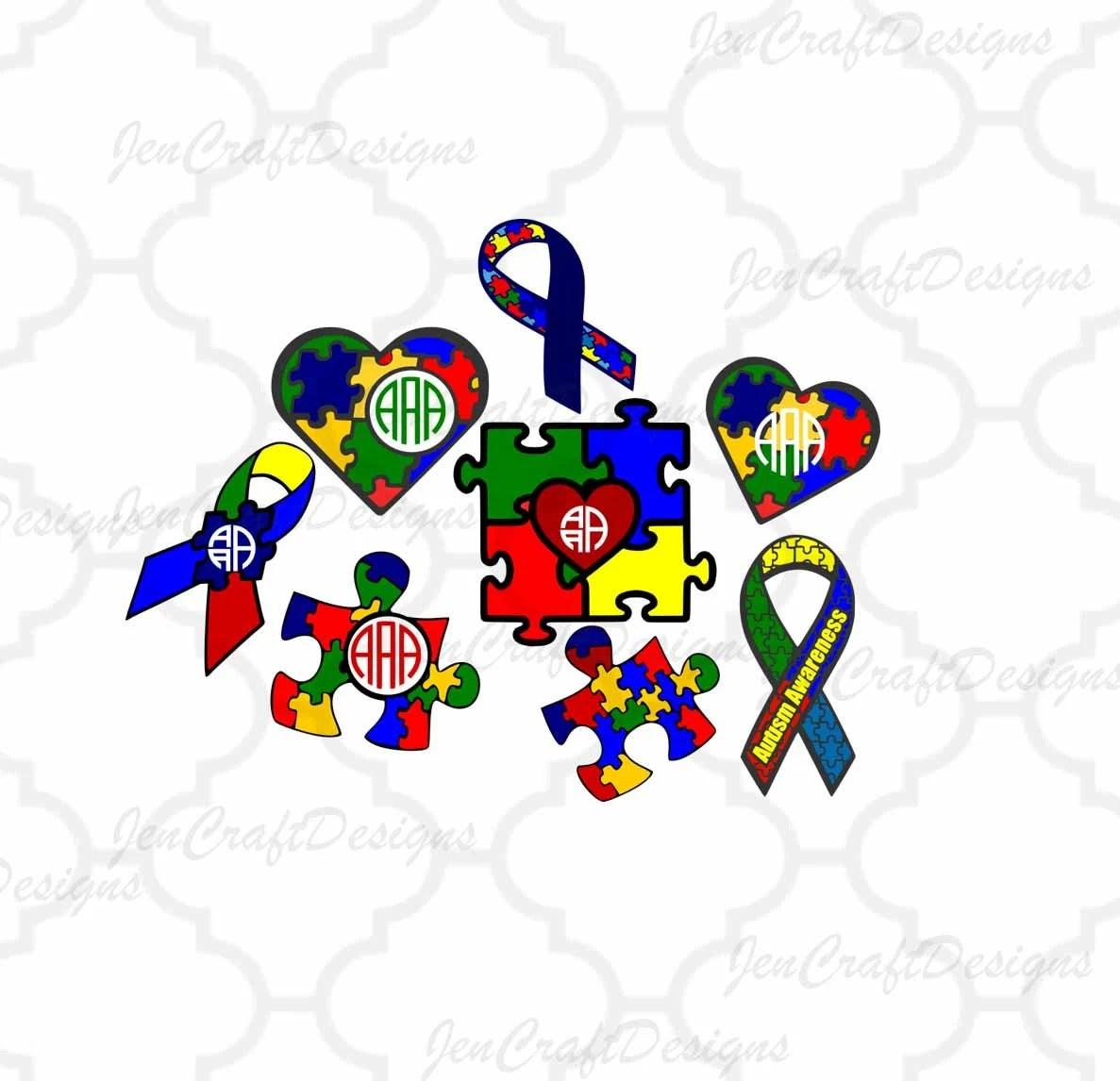 Autism Awareness Svg Puzzle Monogram Frames Svg Autism Mom